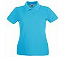 Load image into Gallery viewer, Destiny Coach - Azure Blue Short Sleeve Polo Shirt (female fit / tailored fit)