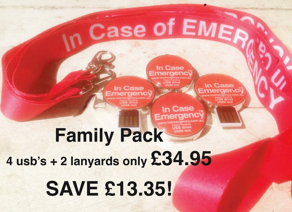 STANDARD FAMILY PACK, 4 x USB's and 2 x Lanyards