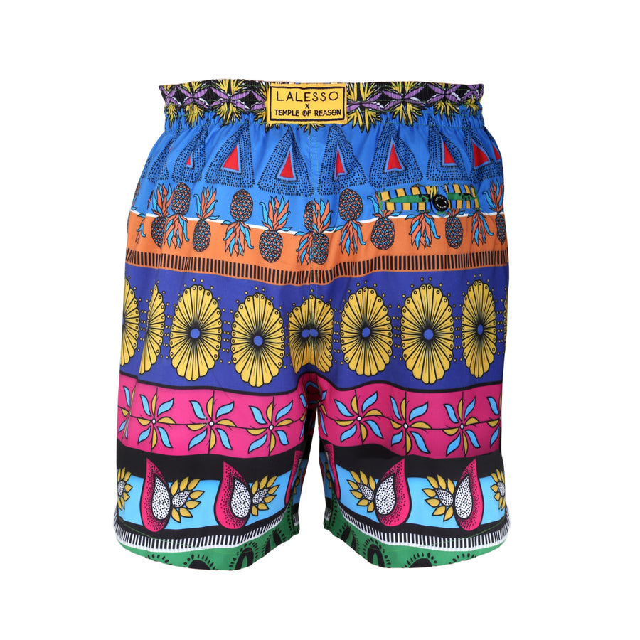 Lalesso x Temple of Reason  Anniversary Print Mens Swim Shorts