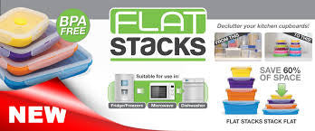 Flat Stacks Collapsible Food Storage Containers - Lunch Box Set (x2)