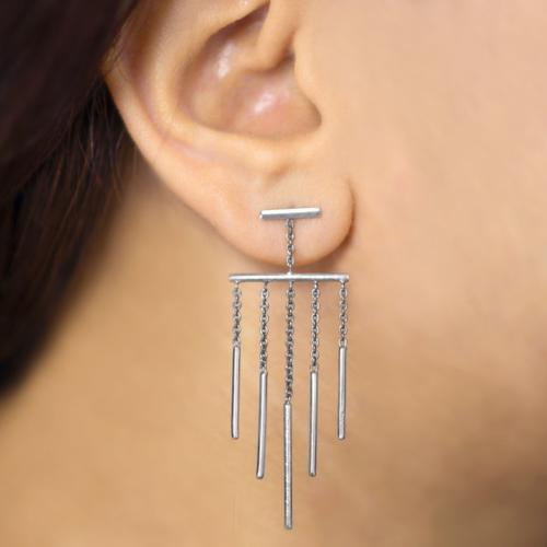 Pulsating Pillars - Long Dangler Drop Earrings - Aliame