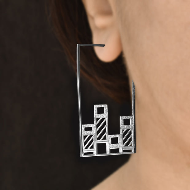 Graphic Bars - Hoop earrings - Aliame