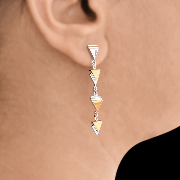 Tryst with Triangles - Long Dangler Drop Earrings - Aliame