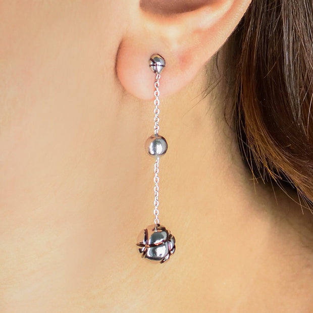 Scintillating Spheres - Long Dangler Drop Earrings