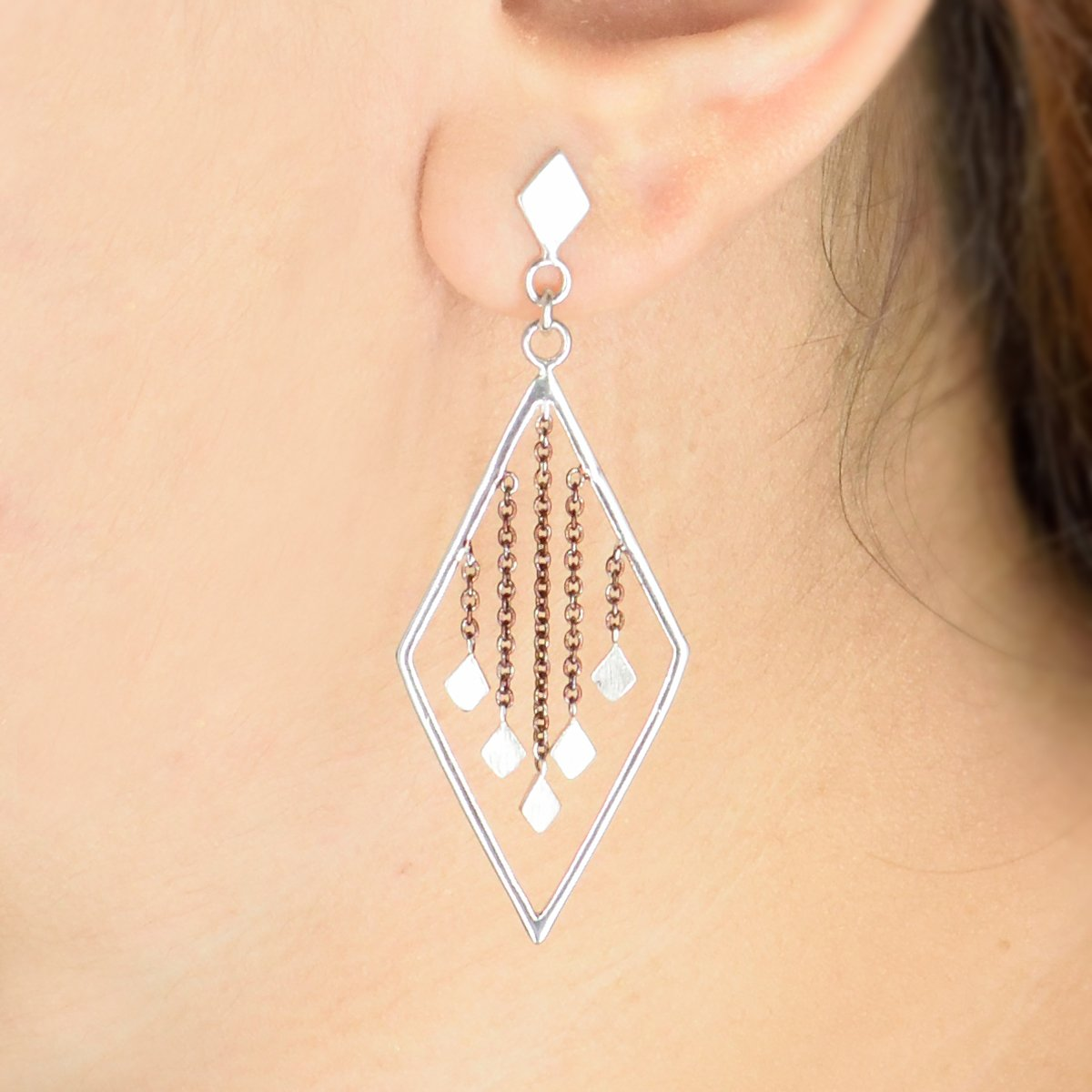 Dainty Diamonds - Long Dangler Drop Earrings - Aliame