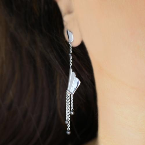 Fantastic Fans - Long Dangler Drop Earrings - Aliame