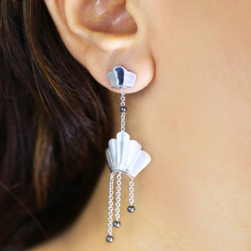Fantastic Fans - Long Dangler Drop Earrings
