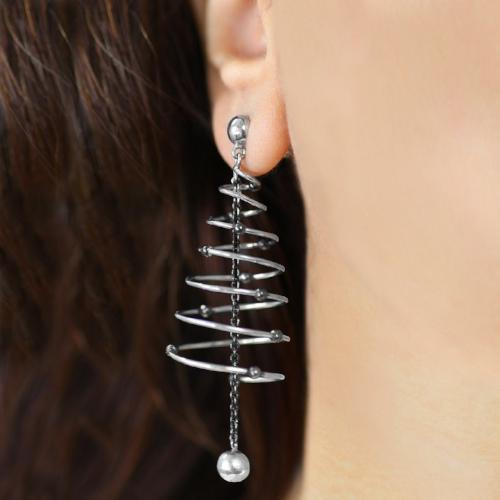 Spiralling Stars - Long Dangler Drop Earrings - Aliame