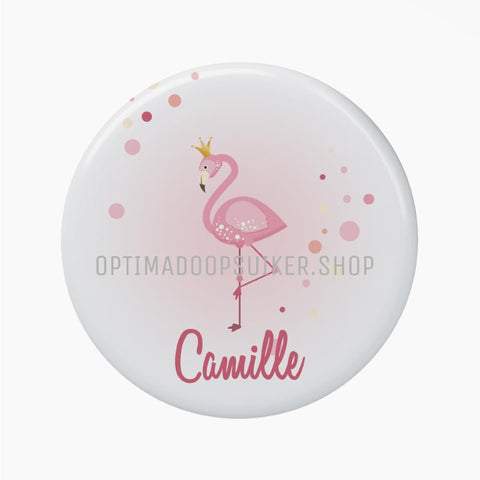 Button - Magneet met flamingo - OptimaDoopsuiker