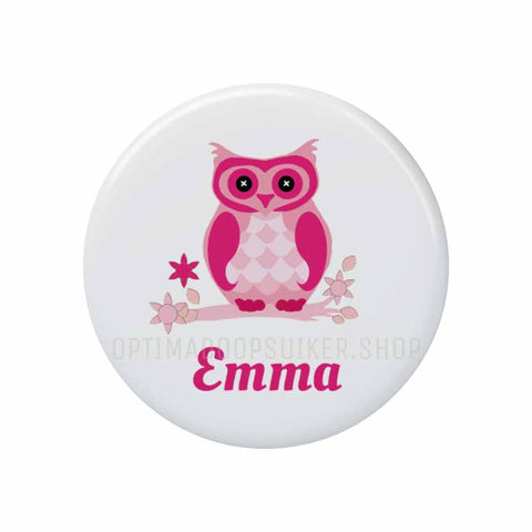 Button - Magneet Uil fuchsia - Optima Doopsuiker