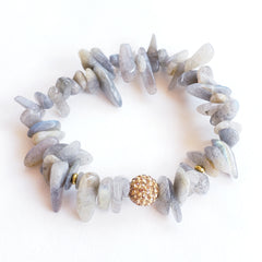 Labradorite Chip Bracelet with Gold Sparkle Bead