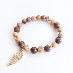 Picture Jasper & Tiger's Eye Bracelet with Angel Wing