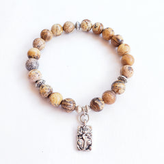 Picture Jasper Bracelet with Lotus Flower