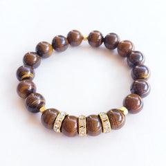 Tiger's Eye Bracelet with Rhinestone Rondelle Beads