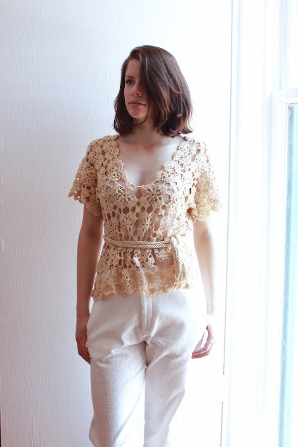 Travel Top - Beige Crochet | By Lex and Zach - high end travel products