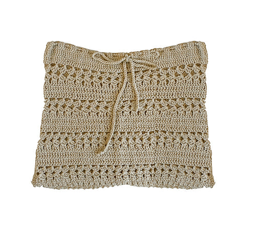 Cotton Mini Skirt in Beige
