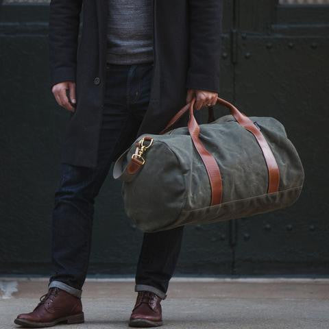 Men's army green duffel bag by Owen and Fred's | Lex & Zach - High end travel products