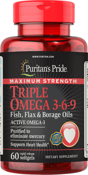 Triple Omega 3-6-9 Fish, Flax & Borage Oils Maximum Strength 60 softgels | Puritan's Pride