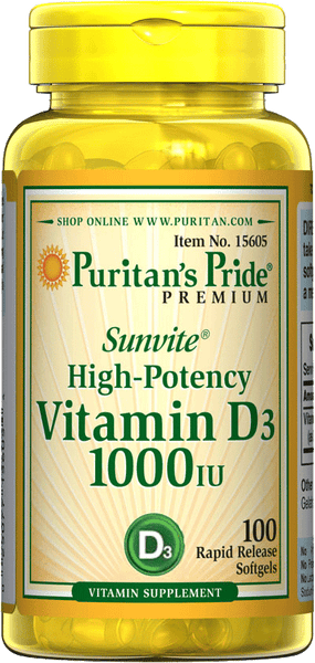 Vitamin D3 25 mcg (1000 IU) 100 Softgels