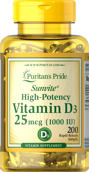 Vitamin D3 25mcg (1000 IU) 200 softgels