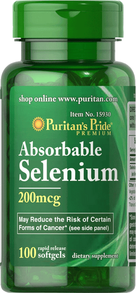 Selenium Absorbable 200mcg 100 softgels | Puritan's Pride