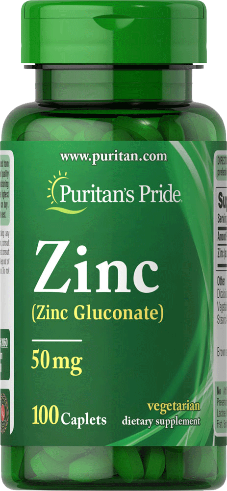 Chelated Zinc Gluconate 50mg 100 tablets | Puritan's Pride