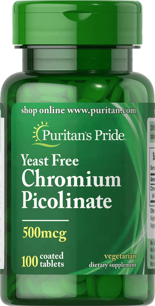 Chromium Picolinate 500mcg 100 tablets | Puritan's Pride