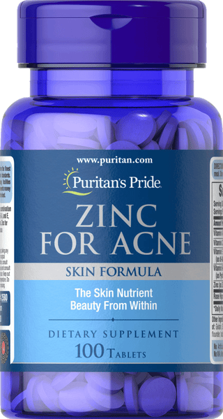 Zinc for Acne 100 tablets | Puritan's Pride