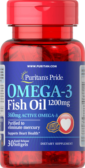 Puritan's Pride Fish Oil 1200 mg 360mg Omega-3 30 softgels