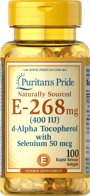 Vitamin E Natural 400 IU with Selenium 100 softgels | Puritan's Pride