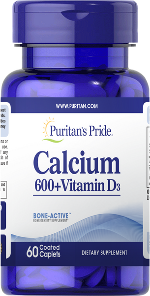 Calcium Carbonate 600 mg + Vitamin D 125 IU 60 Caplets