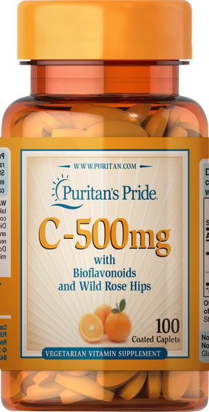 Vitamin C-500 mg with Bioflavonoids & Rose Hips 100 caplets | Puritan's Pride