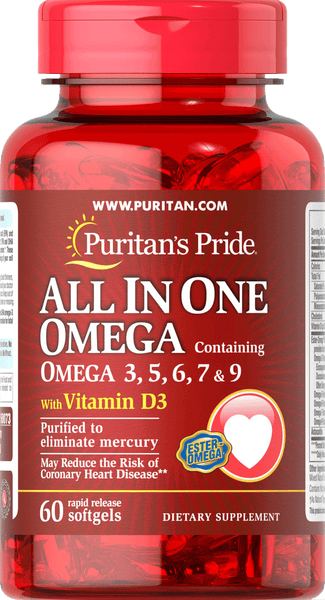 All In One Omega 3, 5, 6, 7 & 9 60 softgels