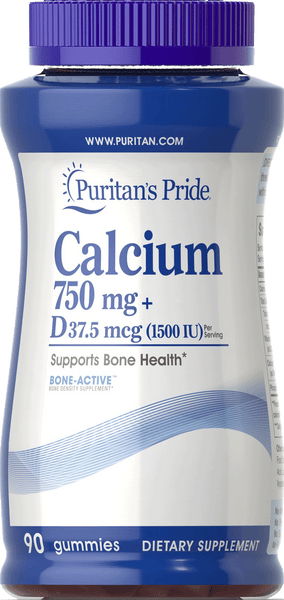 Calcium 750mg plus Vitamin D 37.5mcg (1500IU) Gummy 90 gummies