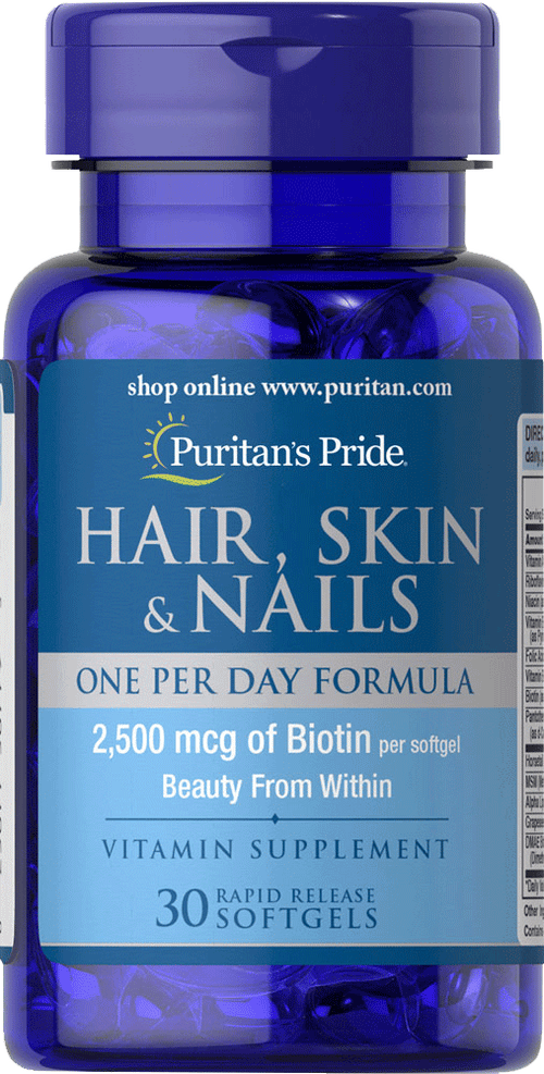Puritan's Pride Hair Skin Nails One per Day Formula 30 softgels