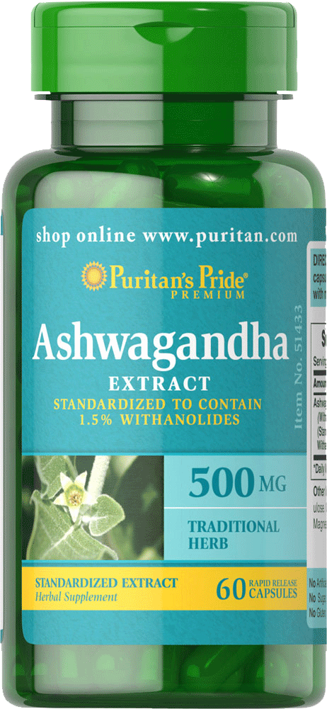 Ashwagandha Standardized Extract 500mg 60 capsules | Puritan's Pride