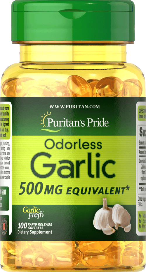 Garlic Odorless 500 mg 100 softgels | Puritan's Pride
