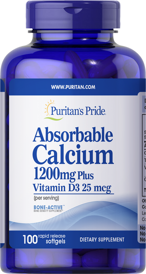 Calcium Absorbable 1200 mg with Vitamin D 1000 IU 100 softgels | Puritan's Pride