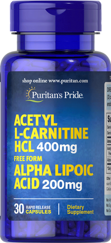 Acetyl L-Carnitine with Alpha Lipoic Acid 400mg & 200mg 30 capsules | Puritan's Pride