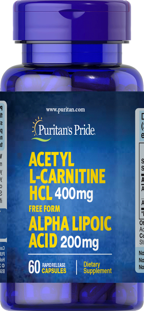 Acetyl L-Carnitine Free Form 400 mg with Alpha Lipoic Acid 200 mg 60 Capsules