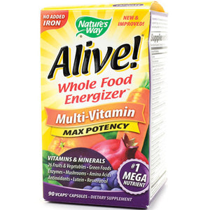 Alive Max Potency No Iron 90 veggie caps | Whole Food Multivitamins