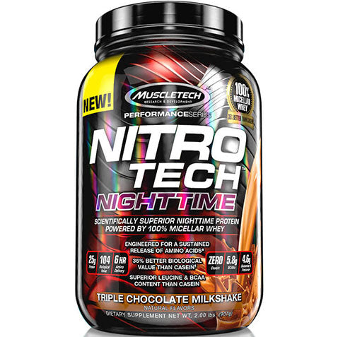 Nitro Tech Nighttime 2 lbs Micellar Whey Chocolate | MuscleTech