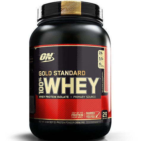 ON Gold Standard 100% Whey, Delicious Strawberry, 2 lbs | Optimum Nutrition
