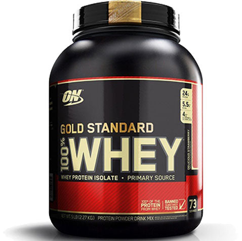 ON Gold Standard 100% Whey, Delicious Strawberry, 5 lbs | Optimum Nutrition