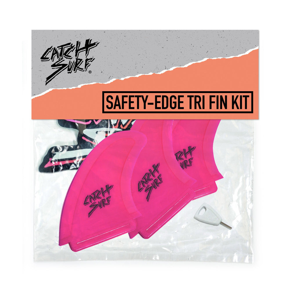 Catch Surf UK - Safety Edge Tri Fin Kit - Hot Pink