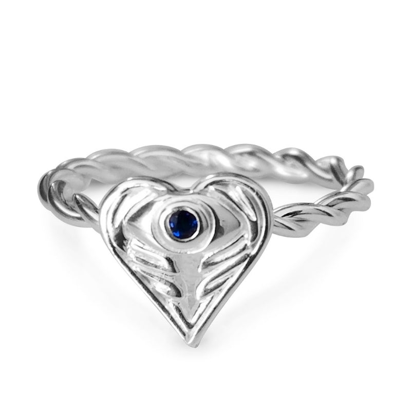 AngelEyes Heart Evil Eye with Angel Wings Ring