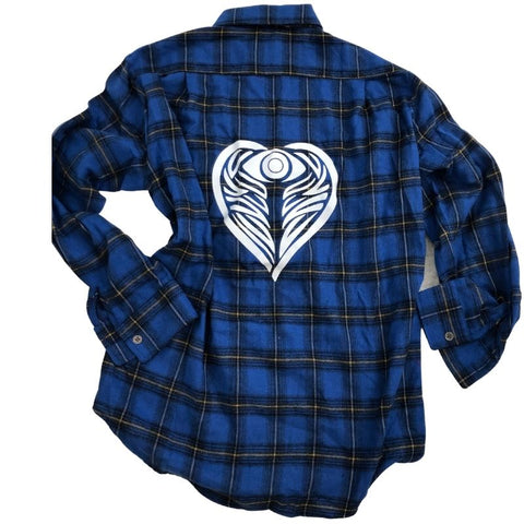 AngelEyes Heart Blue Plaid Flannel Shirt