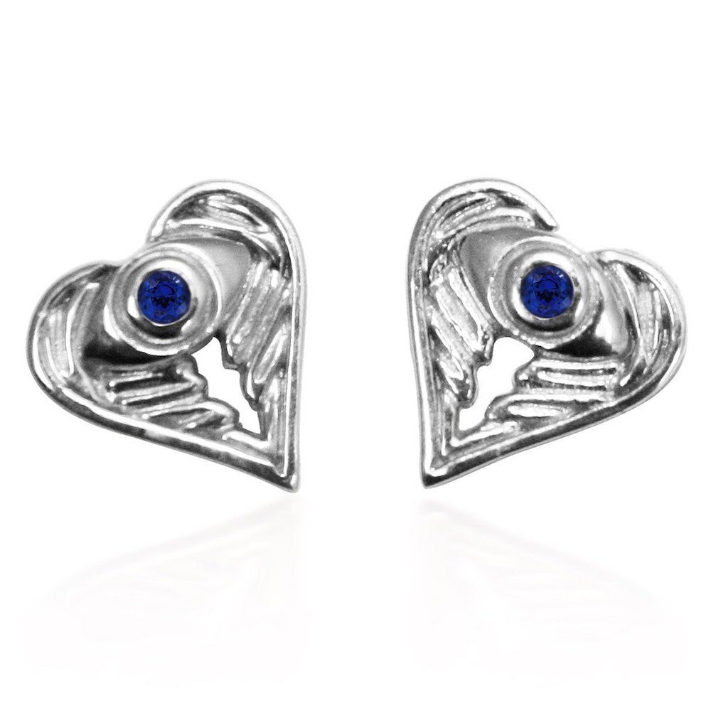Sterling Silver AngelEyes Heart earrings with sapphire stones