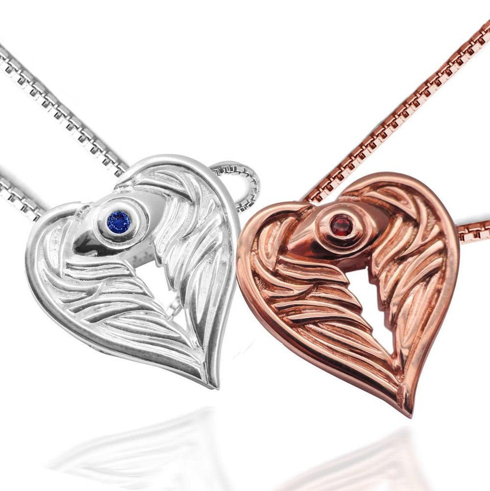AngelEyes Heart Necklace Sterling Silver and Rose Gold Angel Inspired Jewelry