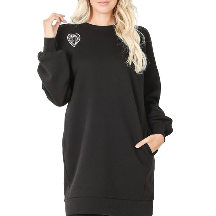 Angel on My Shoulder Angeleyes Heart Oversized Longline Sweatshirt